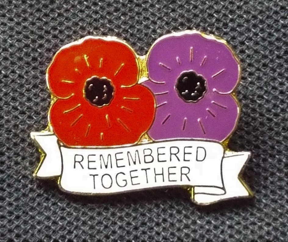 Remembrance Lapel Pin Blue Poppy Animals-Remembered Association War